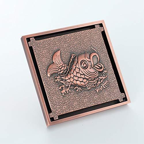 XIAOF-FEN - Desagüe de Suelo de Ducha antiolor para Inodoro de Oro Rosa con patrón de Peces