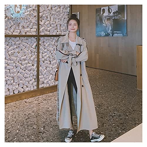 SCDZS Mujeres Elegantes Trench Abrigo Doble-Pecho Largo Patchwork Plaid Lady Duster Coat Capa Mujer Outerwear Femenino Primavera Otoño (Color : A, Size : S Code)