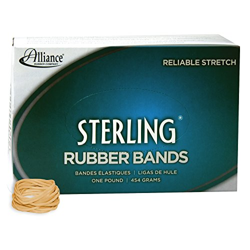 Alliance Rubber 24125 Sterling Rubber Bands Size #12, 1 lb Box Contains Approx. 3400 Bands (1 3/4' x 1/16', Natural Crepe)