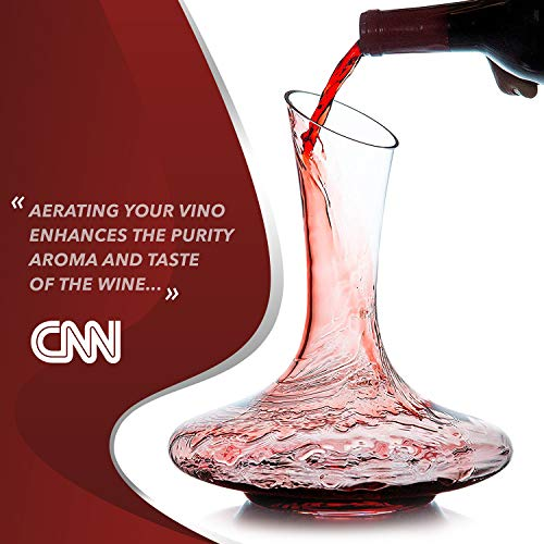 Le Chateau Wine Decanter - 100% Hand Blown Lead-free Crystal Glass, Red Wine Carafe, Wine Gift, Wine Accessories