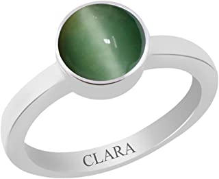 7.5cts or 8.25ratti Original Stone Stunning Sterling Silver Astrological Ring for Men and Women Lehsuniya CLARA Certified Cats Eye
