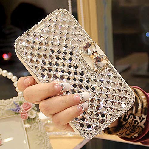 LAPOPNUT for iPhone 6 Case for iPhone 6S Case Bling Jewelry Diamond PU Leather Flip Case Sparkly Crystal Rhinestone Case with Magnetic 3D Bowknot Buckle Card Slot Stand Wallet Cover Skin