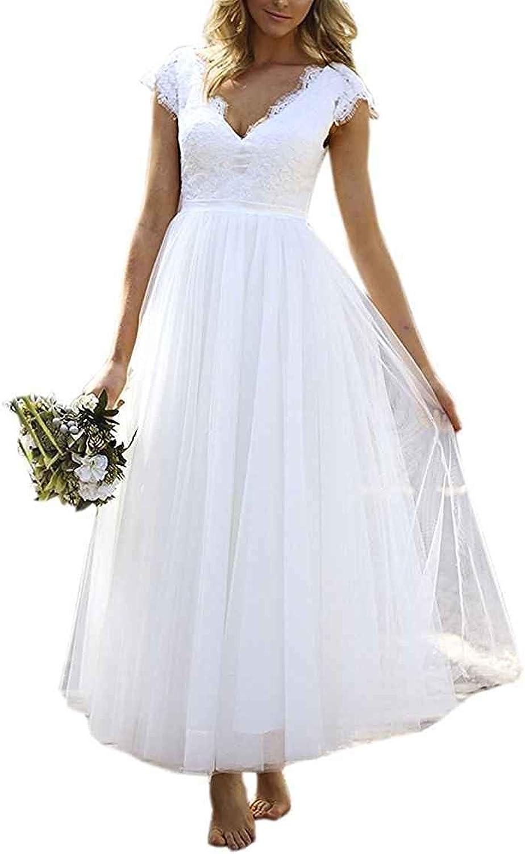 Alexzendra Womens Lace V Neck Beach Wedding Dress Tea Length Cap Sleeve Bridal Gowns