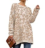 PRETTYGARDEN Women's Casual Leopard Print Long Sleeve Crew Neck Knitted Oversized Pullover Sweaters Tops White