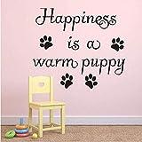 La felicidad es cálida cachorro etiqueta de la pared decoración del hogar sala de estar extraíble perro pata impresión tienda de mascotas etiqueta de la pared decoración 47Cmx43Cm