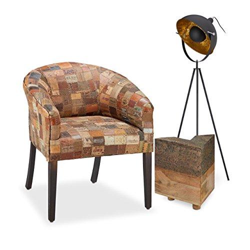 Native Home Fauteuil Chaise Lounge détente rétro Vintage Rembourrage étiquettes Jeans recyclées HxlxP: 80 x 70 x 70 cm, Brun