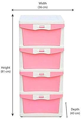 Nilkamal Plastic Chester 24 Free-Standing Chest of Drawers (Pink)