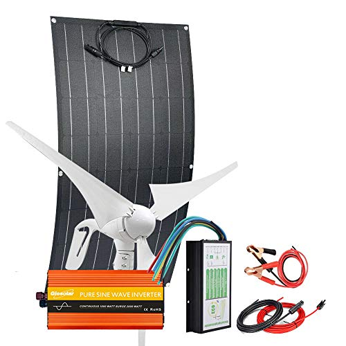 500W Wind Solar Kit Off Grid Hybrid System For Cabin 12V 24V Battery Charging: 1x 100W Flexible Solar Panel+1x 400W Wind Turbine Generator + 2000W Power Inverter + Controller + Accessory