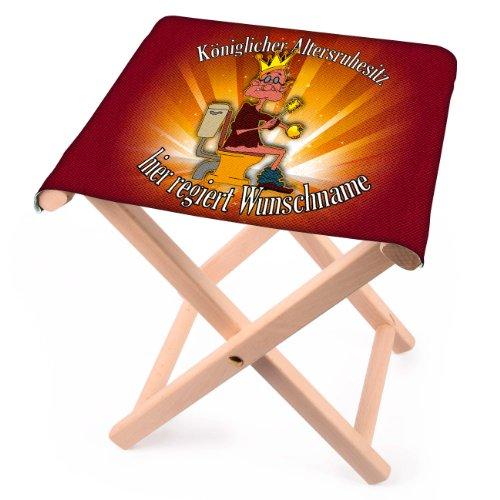 Lustapotheke® lustiger Klappstuhl aus Holz mit Wunschname - Königlicher Altersruhesitz - zur Rente