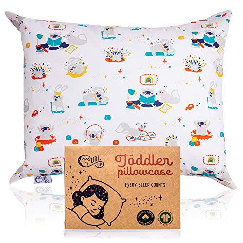 Toddler Pillowcase   100% Organic Cotton Toddler Pillow Case   Fits Toddler Pillow 13x18 or 14x19   Super-Soft & Comfy   Fun Pattern Cotton Pillowcase Boys Girls   Envelope Design Kids Pillowcase