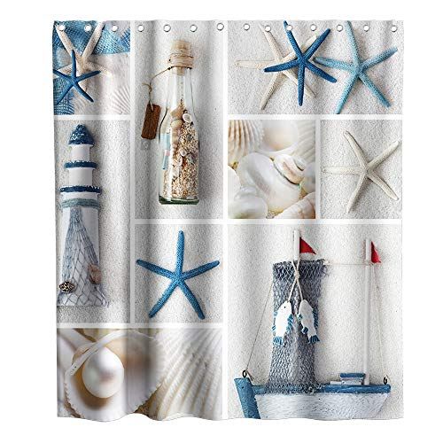 Final Friday Nautical Lighthouse Beach Seashell Starfish Ship Theme Fabric Shower Curtain Sets Ocean Bathroom Decor with Hooks Waterproof Washable 70 x 70 inches Blue and White