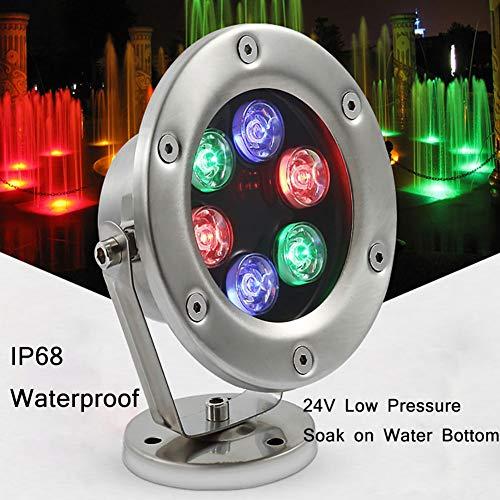 Lampada da Piscina a LED, Lampada da Piscina a LED Subacquea con Anello Frontale in Acciaio Inossidabile, RGB Cambia Colore 24 Volt per Piscine interrate