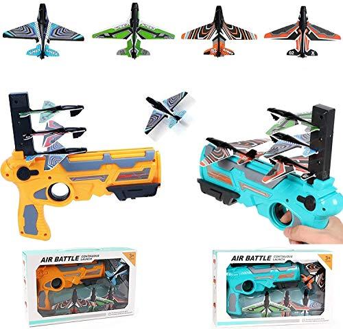 Bubble Katapult Flugzeug Spielzeug Flugzeug, Ein-Klick Auswurf Modell Schaum Flugzeuge für Kinder, mit 4/8 Stück Segelflugzeug Launcher - Fun Outdoor Schießspiel Spielzeug Geschenke für 5+ Kinder