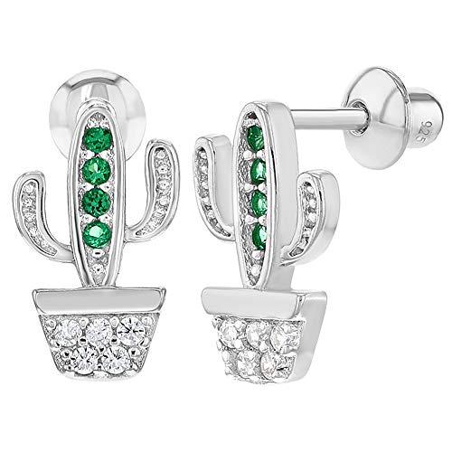Kaktus-Ohrringe mit Schraubverschluss, 925 Sterlingsilber, für Mädchen, klare grüne Zirkonia