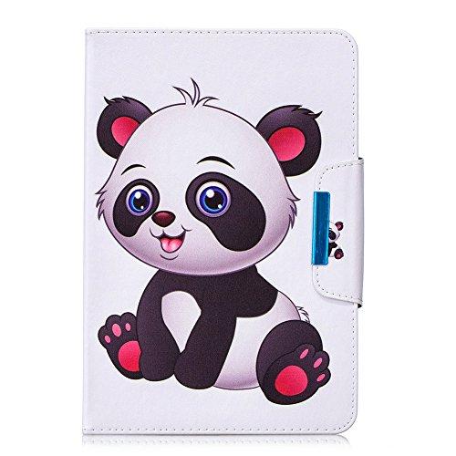 Coopay Universal Hülle für 10 Zoll,Prägen Bunt Panda Schmetterling Blumen Muster Standfunktion Lederhülle,Flip Lightweight Etui Tasche Hülle Cover Schutzhülle kompatibel mit Samsung Huawei 10