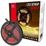 Rollo de 5 metros de Tira de Luz LED Directa a 220v. Color Blanco Calido (3000K). Impermeable. Corte cada 10cm. A++