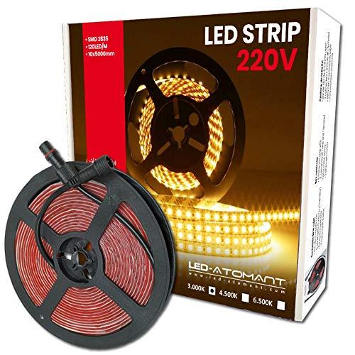 5 Metri di LED Light Strip a 220v, impermeabile, 60W. 120 led / metro. Tagliare 10 cm. Bianco Caldo (3000K). 4800 Lumens. Ultima generazione di strisce led.