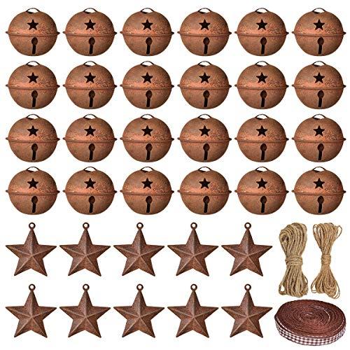 YQing 83 Stück Rostige Glöckchen Weihnachten Schellen Glöckchen, Glocke Weihnachten Schneeflocken Metallglocken Klingglöckchen für Weihnachtsbaumschmuck Dekorationen
