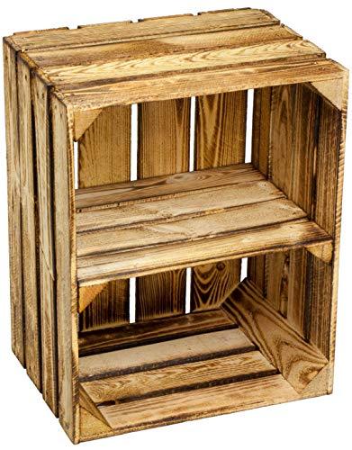Kistenbaron Holzkiste im Vintage Look - Obstkiste Weinkiste Dekoration - Geflammt - 50 x 40 x 30 Einzelset Ablage kurz/hochkant