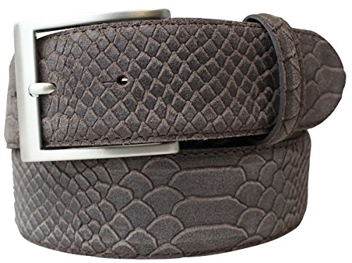 Gürtel mit Pythonprägung 4 cm | Leder-Gürtel für Damen Herren 40mm Schlangen-Optik |Schlangen-Muster Python-Muster | Braun 100cm
