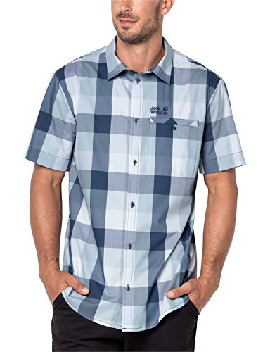 Jack Wolfskin Men's Fair Ford Shirt Short Sleeve, XX-Large, Ocean Wave Checks