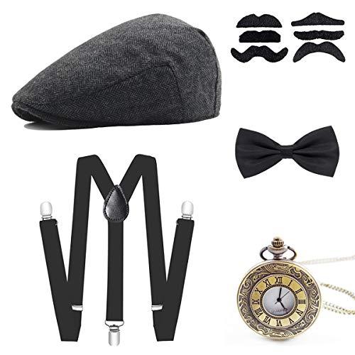 Wagoog 1920s Gatsby Herren Accessoires, 20er Jahre Herren Mafia Kostüm Set mit Panama Gangster Hut, Verstellbar Elastisch Hosenträger, Herren Halsschleife Fliege und Vintage Taschenuhr