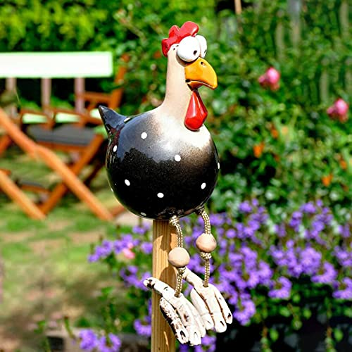 Decorazione di pollo da giardino, statua da giardino decorazione gallo,gallina per giardino all'aperto, gallina in ceramica in resina per esterni scultura animale decorazione (Nero)