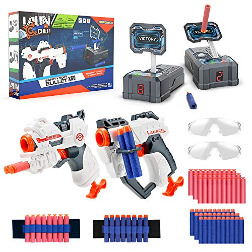 NBPOWER Digital Shooting Targets, 2 Pack Toy Foam Blasters & Guns for Toy Nerf Gun Auto Reset 60 Foam Darts, Kids Toys for Age 4,5,6,7,8,9,10+ Years Old Kids, Boys & Girls