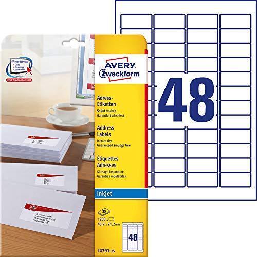 AVERY Zweckform J4791-25 Adressetiketten/ Adressaufkleber (45,7x21,2mm auf DIN A4, bedruckbar, selbstklebend, ideal als Absenderetikett, Papier matt für Inkjet-Drucker, 1.200 Etiketten 25 Blatt) weiß