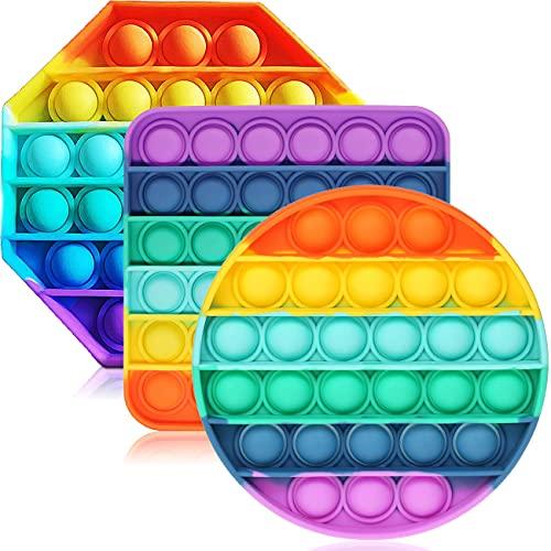ENTHUR Fidget Toys for Adults and Kids - Bubble Sensory Fidget Toy Push Pop Fidget Toy Squeeze Sensory Toy (3pcs)