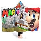 QIAOQIAOLO Super Mario Home - Manta con capucha para adulto, mujer, hombre, adulto, talla 80 x 60 pulgadas