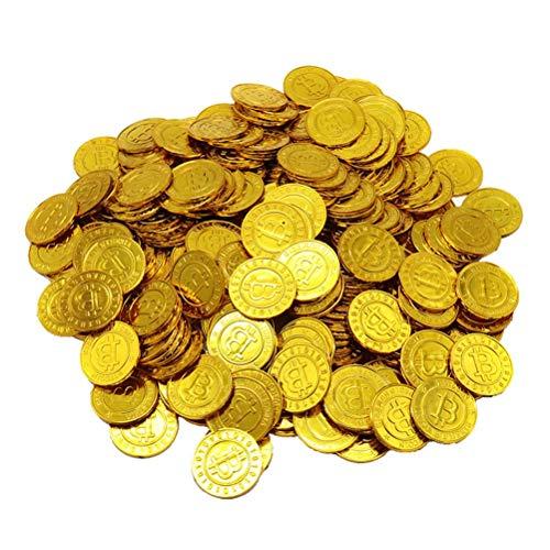 YeahiBaby Moneda de Bitcoin de Plástico Tesoro de Pirata Juguete de Fiesta para Niños (Oro)