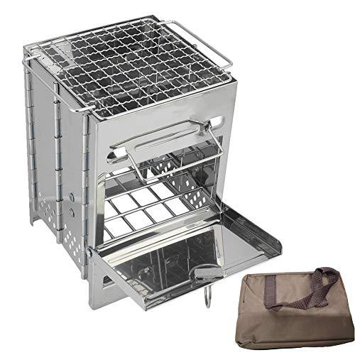 Gojiny Estufa de mochilero ardiente portátil, estufa de madera de camping al aire libre plegable de acero inoxidable estufa de leña cuadrada