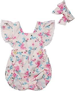 6e135c3543c69 Infant Baby Girls Vintage Floral Print Ruffles Short Sleeve Romper +  Bowknot Headband 2Pcs Set Outfuts