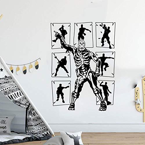 LovelyHomeWJ Juegos Populares Personajes Jugador Etiqueta de la Pared habitación de niño Videojuego Jugador Bailarina Pared calcomanía habitación de niños 65x47cm