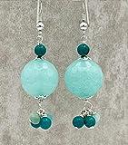 Orecchini con giada verde acqua turchesi e amazzonite, pendenti in argento 925 e pietre dure, gioielli moderni, bijoux fatti a mano, regalo per lei