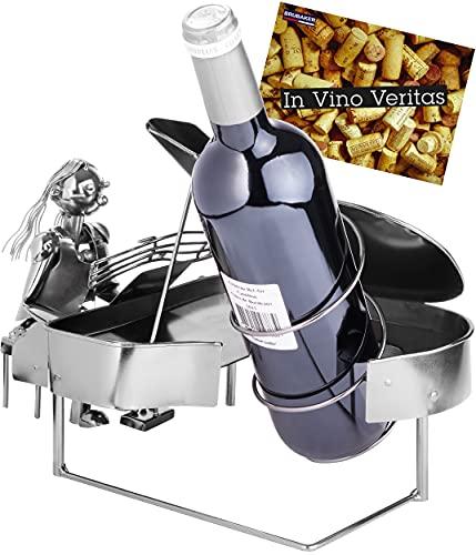 BRUBAKER Portabotellas Mujer Pianista con Piano - Escultura Metálica Portabotellas - 22 cm - Regalo de Vino para Aficionados al Piano - con Tarjeta de Felicitación
