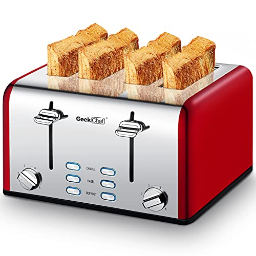 Geek Chef 4 Slice toaster, Best Rated Prime Retro Bagel Toaster with 6 Bread Shade Settings, 4 Extra Wide Slots, Defrost/Bagel/Cancel Function, Removable Crumb Tray, Stainless Steel Toaster, 1500W (Sliver-Red)