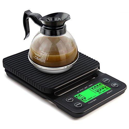 Ponangaga Digitalwaage Lebensmittel Kaffee mit Timer, 3kg/0.1g Coffee Scale Notebook Elektrische Küchenwaage Display LCD Grün Hintergrundbeleuchtung Instrument, schwarz
