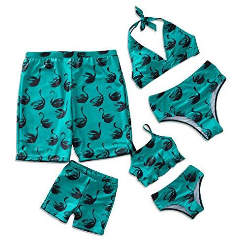 Yaffi Familie Bijpassende Zwemkleding Twee Stukken Bikini Set 2019 Nieuwste Zwaan Gedrukt Strand Draag Mama en Mij Badpakken Groen