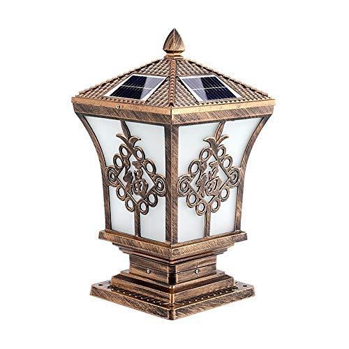 FWZJ Lámpara de Columna Impermeable LED Solar Luz de Poste Hogar Patio Luz de jardín Lámpara de Mesa al Aire Libre Villa Valla E27 Decoración Luz de Escritorio de Vidrio (Tamaño: M)