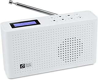 Ocean Digital Portable Internet Wi-Fi/FM Radio with Bluetooth Speaker, Rechargeable Battery Compact Radio for Kitchen Garden (WR26) (White)