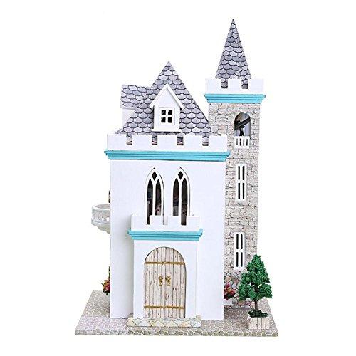 Casas de muñecas de Castillo de la luz de la luna con luces LED,Dreamhouse & Juguete de montaje de bricolaje,301915cm