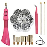 Hotfix Applicator Hot Fix Rhinestone Applicator Wand Setter Tool Kit with 7 Different Sizes Tips and Support Stand, Tweezers & 2 Pencils and 1Pack Hot-Fix Crystal Rhinestones (3060 Stones) (Pink)