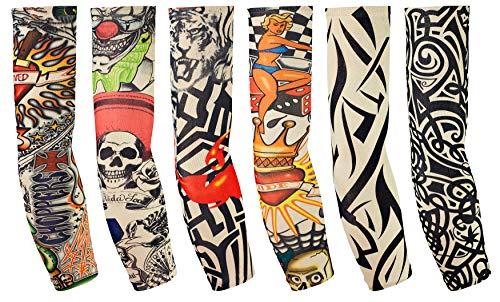 6 Stück Tattoo Ärmel Arm Tattoo Strumpf Herren Damen Nylon Tattoo Armstrumpf Temporäre Tattoos Arm Tätowierung Armstrümpfe Tattoo Strumpf Arm für Karneval Fasching Party