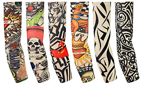 Balinco 6 Stück Tattoo Ärmel Arm Tattoo Strumpf Herren Damen Nylon Tattoo Armstrumpf Temporäre Tattoos Arm Tätowierung Armstrümpfe Tattoo Strumpf Arm für Karneval Fasching Party