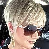 Queentas Parrucche Corte Bionde Taglio Pixie Resistenti al Calore Fibra Sintetica Naturale Capelli Lisci per le Donne Parrucche Taglio Ragazzo