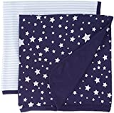 Hudson Baby Unisex Baby Cotton Swaddle Blankets, Silver Star, One Size