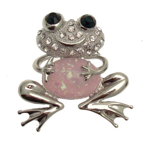 Acosta - grande rosa con cuentas de cristal - Rana Broche Cheeky - en caja de regalo (plata)