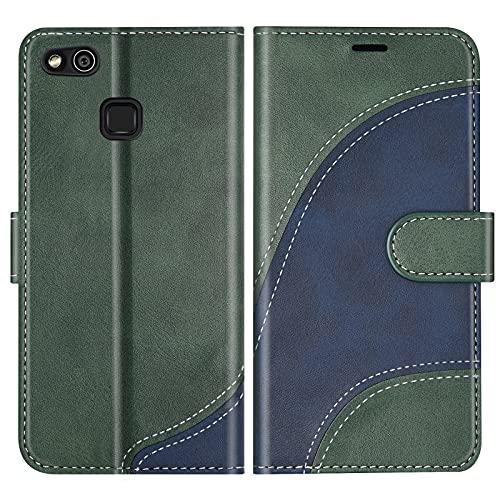 BoxTii Cover per Huawei P10 Lite, Custodia in PU Pelle Portafoglio per Huawei P10 Lite, Magnetica Cover a Libro con Slot per Schede, Verde